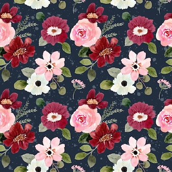 Modèle sans couture aquarelle floral rose rouge