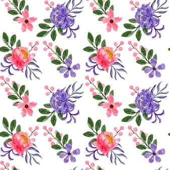 Modèle sans couture aquarelle floral rose violet