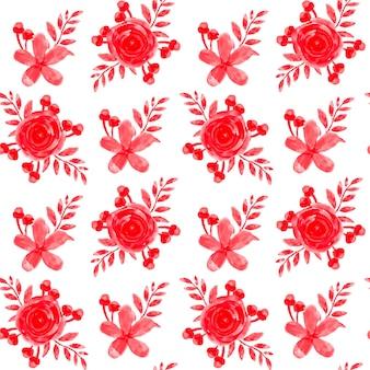 Modèle sans couture aquarelle floral rouge