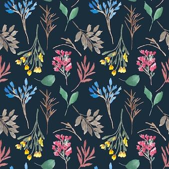 Modèle sans couture aquarelle floral sauvage