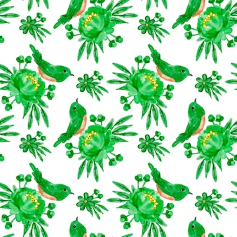 Modèle sans couture aquarelle floral vert
