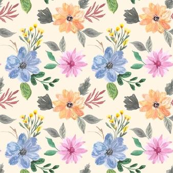 Modèle sans couture aquarelle floral vintage
