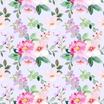 Modèle sans couture aquarelle floral violet rose doux