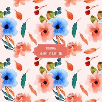Modèle sans couture aquarelle florale automne
