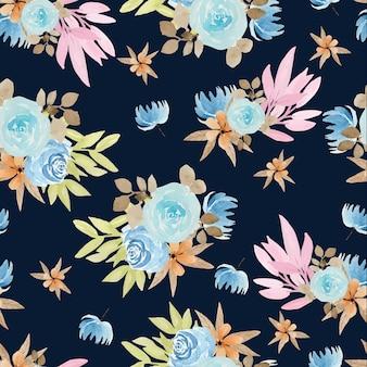 Modèle sans couture aquarelle florale avec de belles roses bleues
