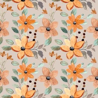 Modèle sans couture avec aquarelle florale brune