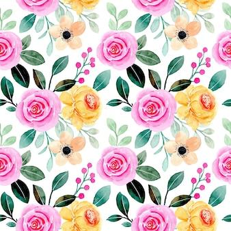 Modèle sans couture d'aquarelle florale jaune rose