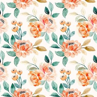 Modèle sans couture d'aquarelle florale de pêche orange