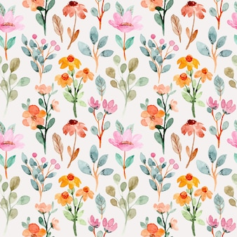 Modèle sans couture avec aquarelle florale sauvage