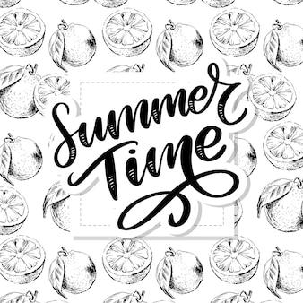 Modèle sans couture aquarelle de fruits orange avec des feuilles. illustration d'agrumes orange. illustration de la nourriture écologique slogan d'été
