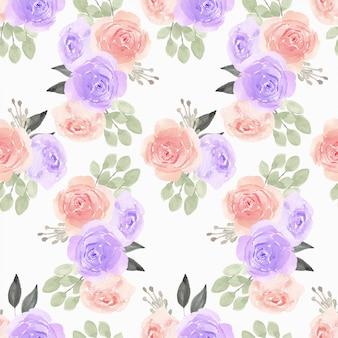 Modèle sans couture aquarelle avec illustration de fleur rose
