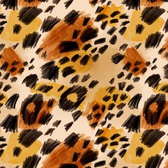 Modèle sans couture aquarelle imprimé animal félin