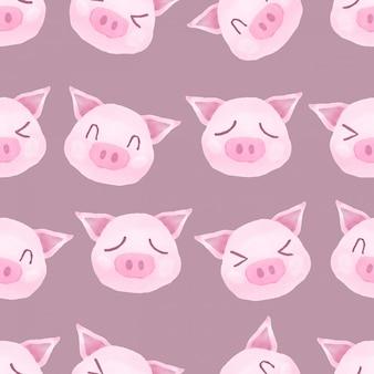 Modèle sans couture aquarelle joli cochon rose heureux
