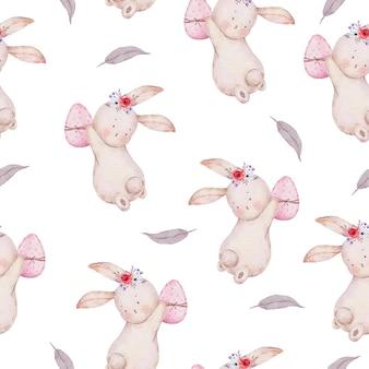 Modèle sans couture aquarelle de lapin de pâques