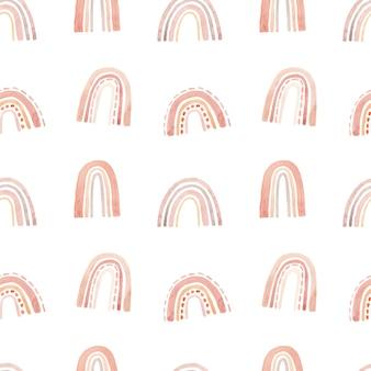 Modèle sans couture aquarelle mignon avec des arcs-en-ciel dans des couleurs pastel.