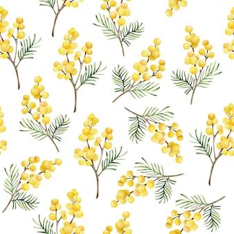 Modèle sans couture aquarelle mimosa