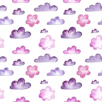 Modèle sans couture aquarelle nuages rose et violet