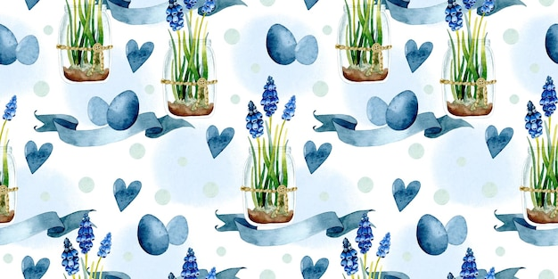 Modèle sans couture aquarelle d'oeufs de pâques jacinthe