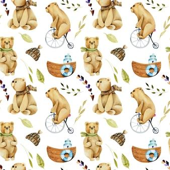Modèle sans couture d'aquarelle ours mignons sur un vélo
