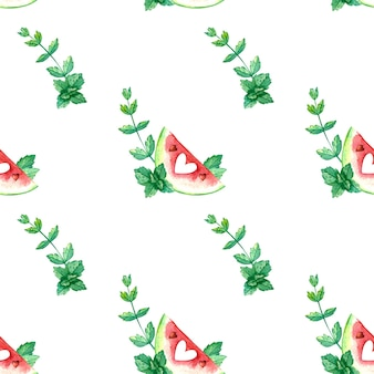 Modèle sans couture aquarelle avec des pastèques rouges