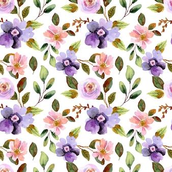 Modèle sans couture aquarelle peinte à la main de fleurs violettes et de lys rose