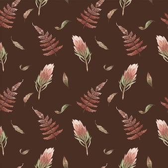 Modèle sans couture aquarelle avec des plantes tropicales boho. fleurs et feuilles exotiques pastel, haki. fonds d'écran vintage.