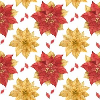 Modèle sans couture aquarelle de poinsettia de noël or rouge