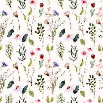 Modèle sans couture aquarelle pré de fleurs sauvages