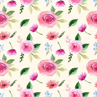 Modèle sans couture aquarelle avec des roses roses et des feuilles fraîches vertes