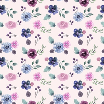 Modèle sans couture aquarelle sur le thème de l'hiver joli floral violet et bleu