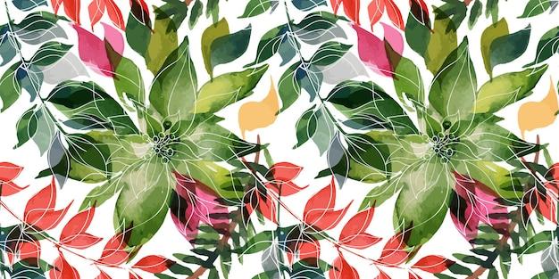 Modèle sans couture aquarelle tracée floral de noël