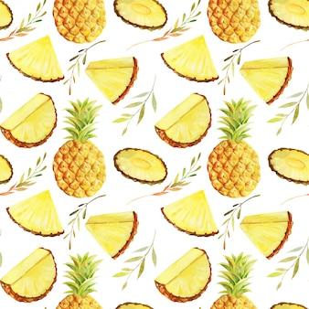 Modèle sans couture d'aquarelle en tranches d'ananas, illustration isolée peinte à la main