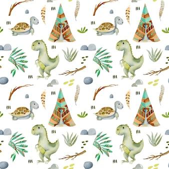 Modèle sans couture aquarelle de wigwams, tortues et dinosaures