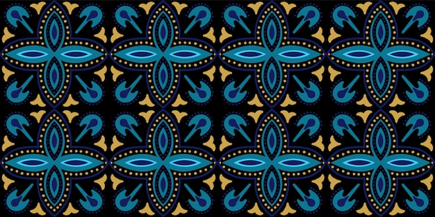 Modèle sans couture arabesque géométrique indigo. conception arabe abstraite. texture florale maroc plaqué or et bleu foncé.