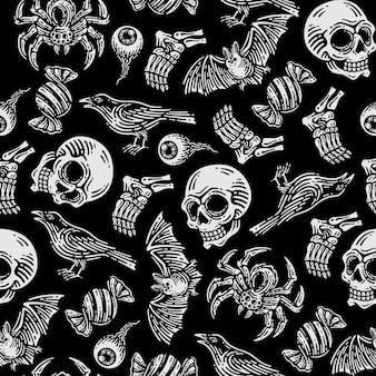 Modèle sans couture d'araignée, crâne, chauve-souris, corbeau, globe oculaire, os de jambe, emballages de bonbons en fond sombre