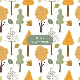 Modèle sans couture d'arbre automne