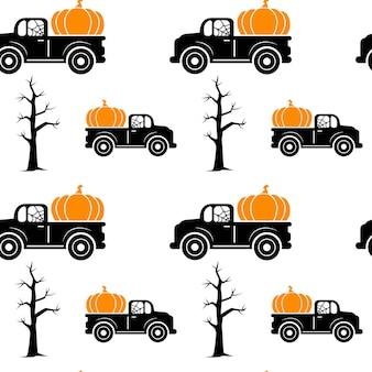 Modèle sans couture avec arbre citrouille halloween camion isolé sur fond blanc