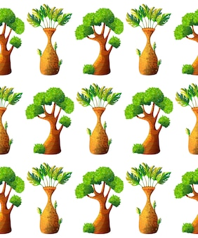 Modèle sans couture d'arbre de dessin animé
