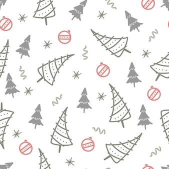 Modèle sans couture d'arbre de noël. modèle de noël d'hiver de style doodle dessinés à la main. illustration vectorielle.