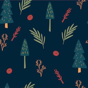 Modèle sans couture d'arbre de noël. plantes des bois de style scandinave. papier d'emballage botanique. fond de vecteur de prairie forestière. arbres de noël, branches, herbes et baies. vecteur dessiné à la main