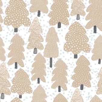 Modèle sans couture d'arbre scandinave dessiné à la main.
