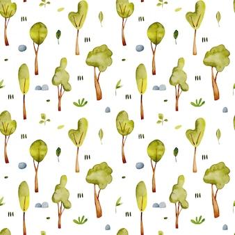 Modèle sans couture d'arbres aquarelle