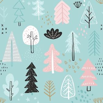 Modèle sans couture avec des arbres d'hiver mignons illustration colorée enfantine