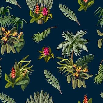 Modèle sans couture avec des arbres de la jungle