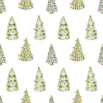 Modèle sans couture d'arbres de noël dessinés à la main avec des décorations