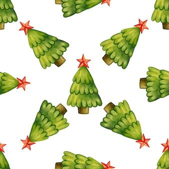 Modèle sans couture d'arbres de noël avec étoile sur une illustration vectorielle de fond blanc