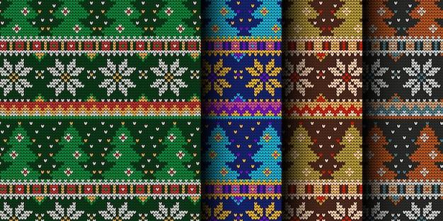 Modèle sans couture d'arbres de noël tricotés