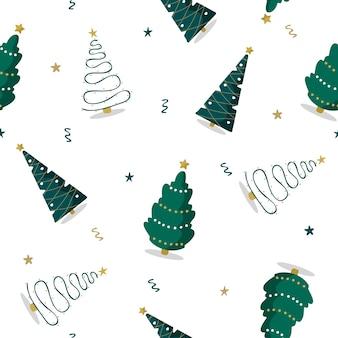 Modèle sans couture avec des arbres de noël verts. imprimé d'hiver.