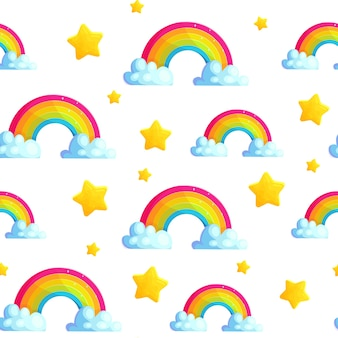 Modèle sans couture arc-en-ciel de dessin animé avec étoile et nuage.