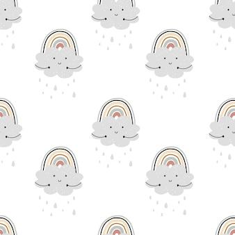 Modèle sans couture arc-en-ciel mignon. illustration pour le fond, le papier peint, frabic.élément modifiable